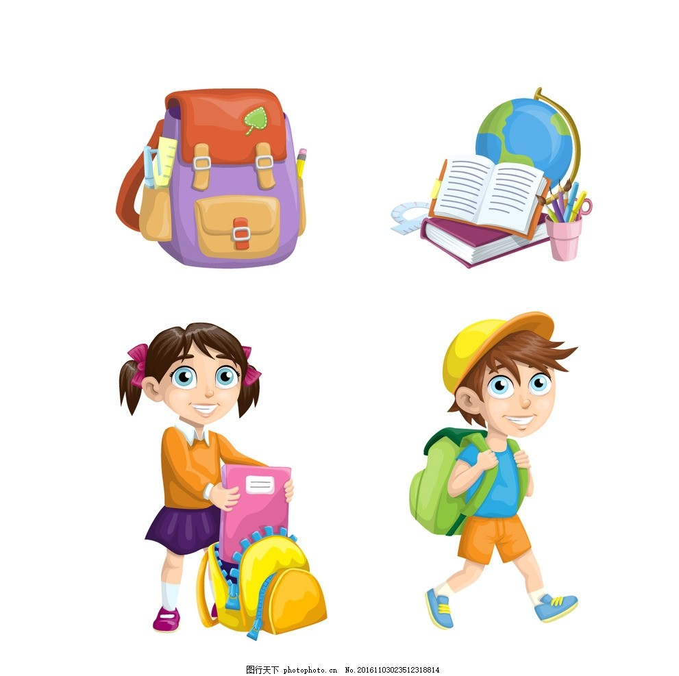 卡通手绘小学生 读书 书包 学习用具 上学 小男孩 小女孩 上课