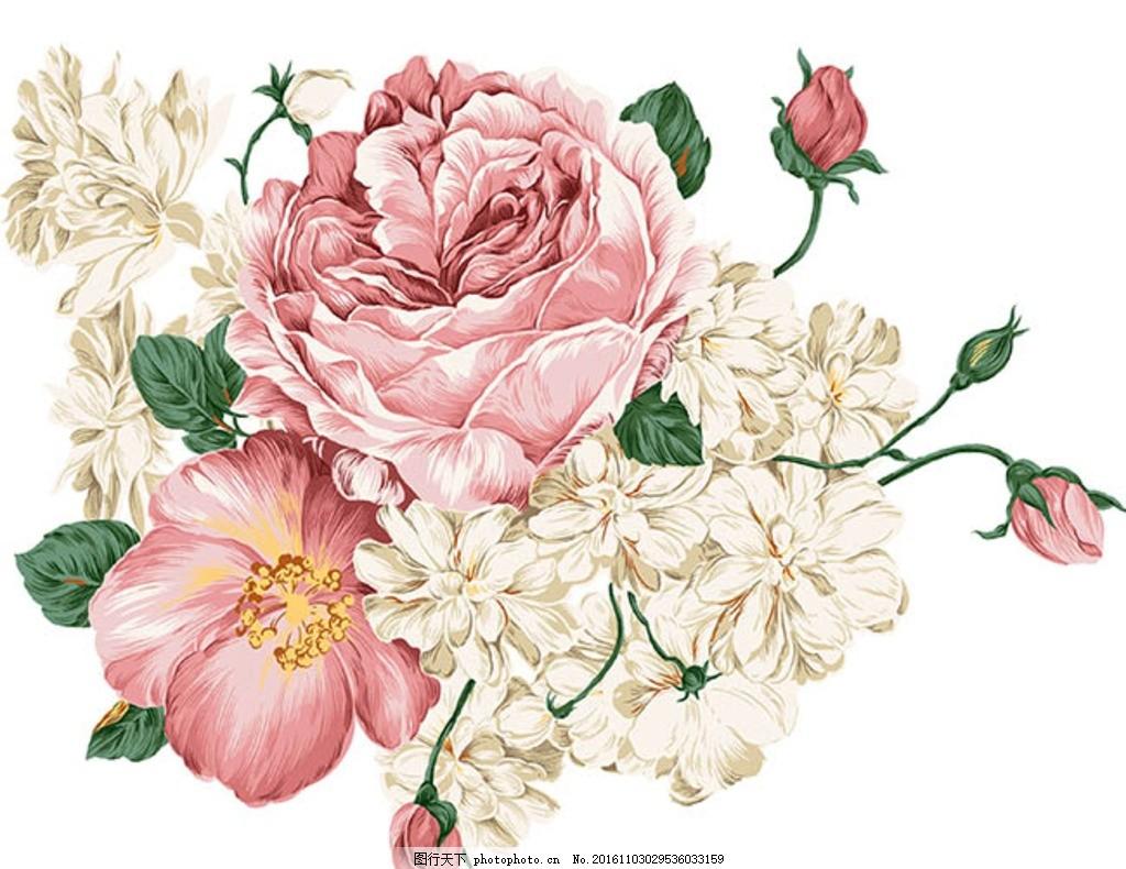 精美手绘花朵 卡通插画鲜花素材 花束 花卉 绿色植物 花草树木