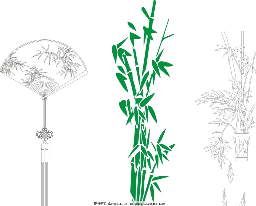 移门图案 竹子剪影 剪纸 传统 矢量 剪影 清明节素材 黑白竹子 绿色竹