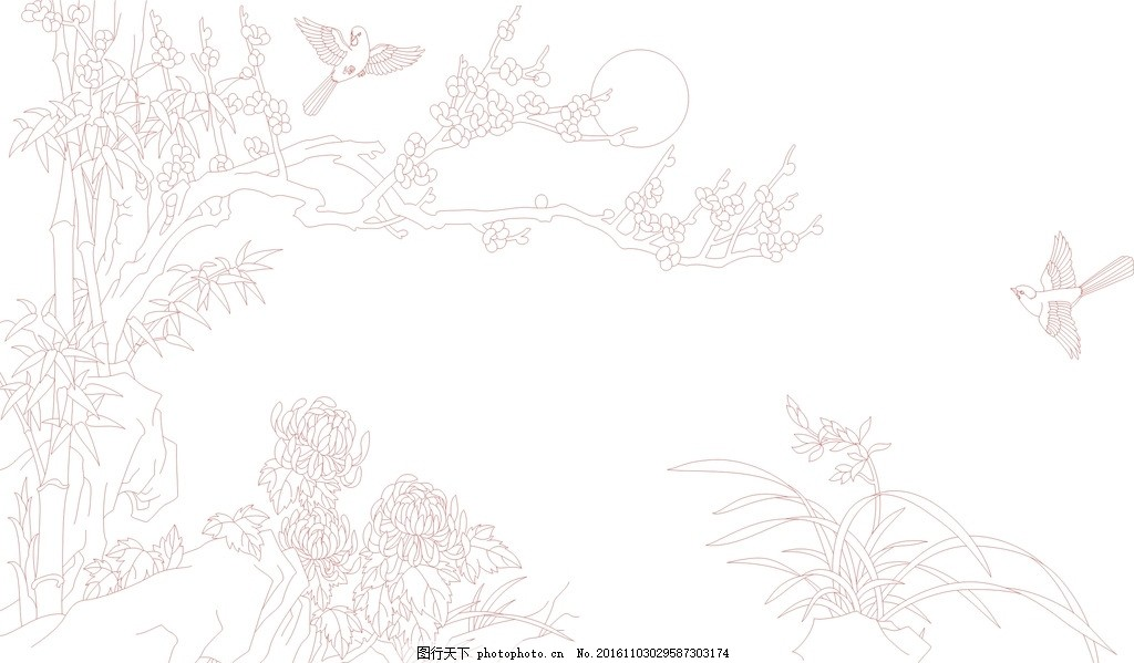剪影 黑白 电视背景墙 背景墙 玄关 屏风 兰花线条图 梅花 梅花线条图