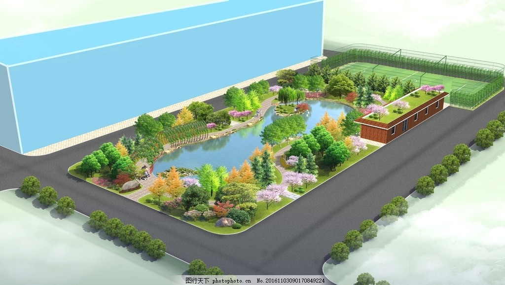 小游园鸟瞰图 游园 鸟瞰 园林 绿化 水景 设计 自然景观 建筑园林 72