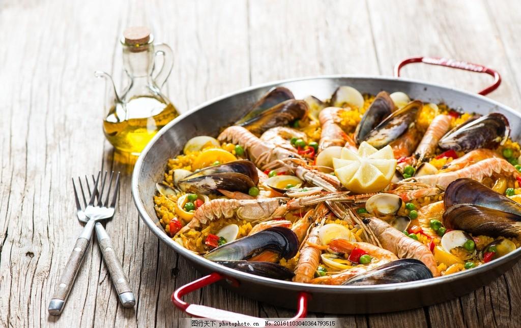 海鲜 平底锅 油叉虾 柠檬 鱿鱼 贝壳 美味 食物 摄影 西餐美食