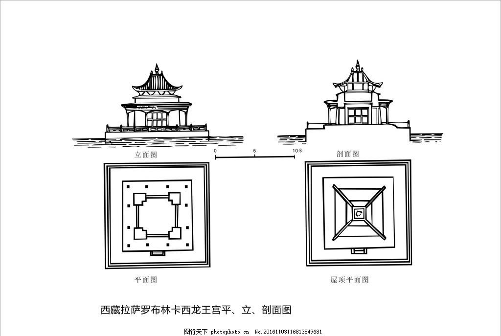 藏族建筑 藏族文化 建筑制图 花纹 黑白装饰画 黑白线描 藏族图案
