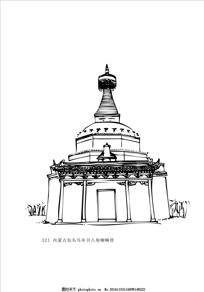 藏族文化 建筑制图 花纹 黑白装饰画 黑白线描 藏族图案 藏族元素