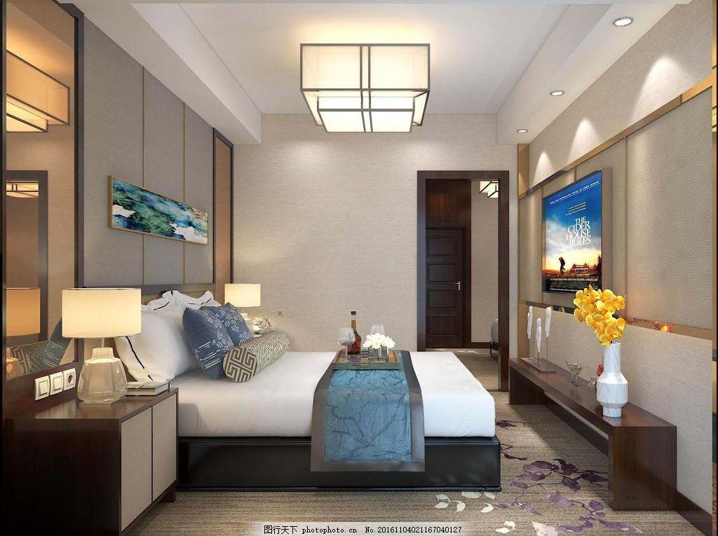 工装 豪华酒店套间 床头背景墙 电视背景墙 现代 中式 设计 3d设计 3d