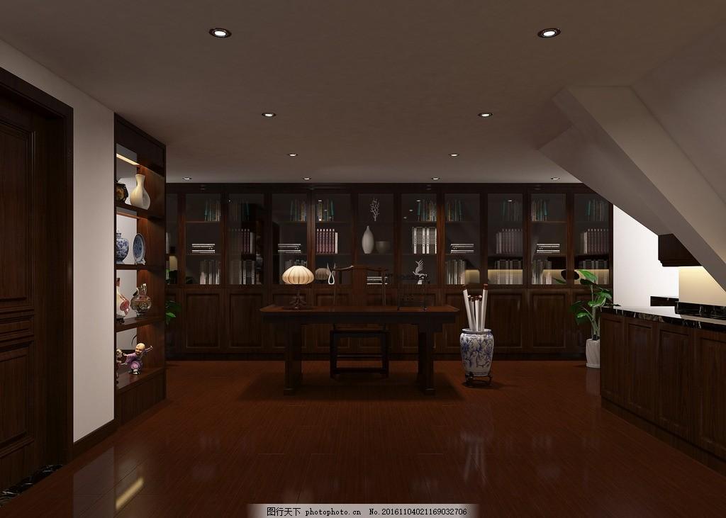 新中式风格阁楼装修效果图 新中式 风格 阁楼 装修        设计 3d