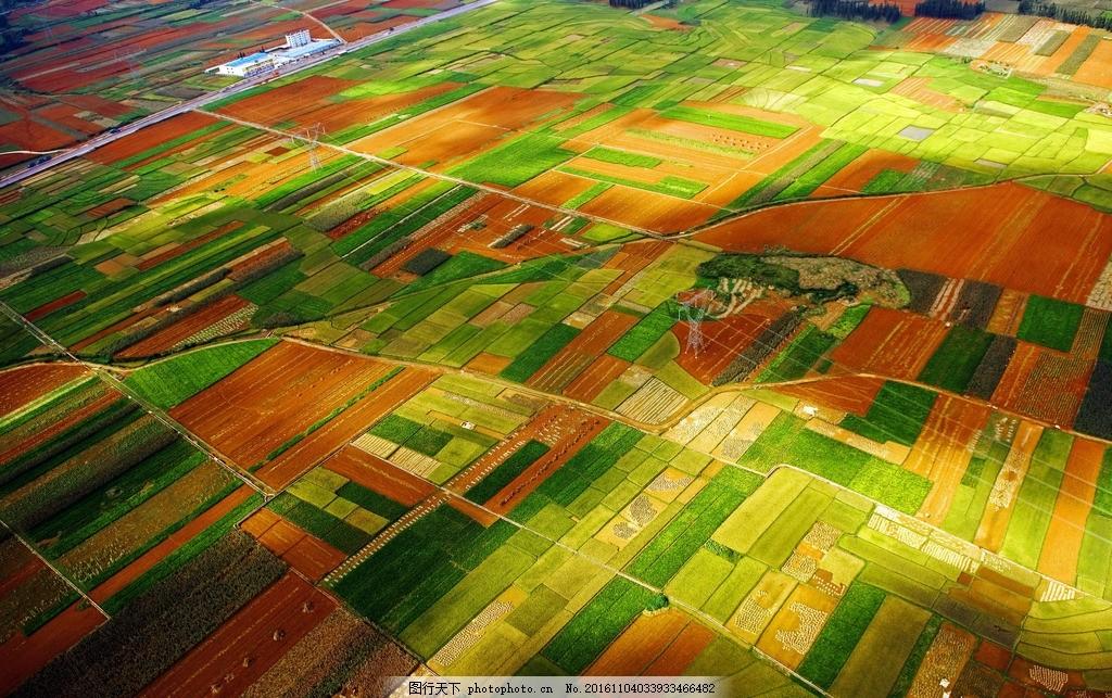 航拍 俯视 田野 田园 田地 田 庄稼 农作物 风景 村庄 公路 壮观 摄影