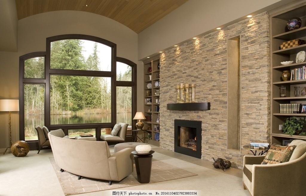 欧式客厅 壁炉      豪宅 欧式 复古 沙发 落地窗 书柜 室内 设计