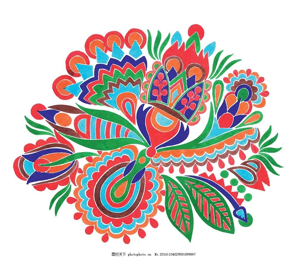 手绘民族风中国风花纹