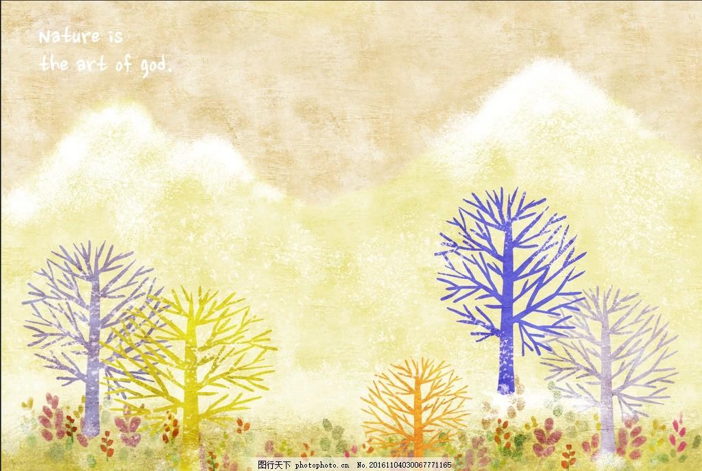 水彩树 抽象树 手绘树 电视背景墙 装饰壁画 酒店壁画 室内背景墙