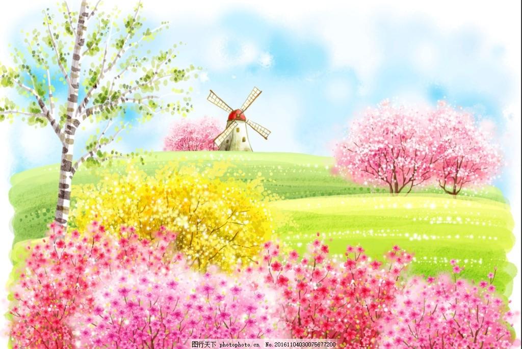 水彩树 森系婚礼舞台 桃树 春天 水彩花 手绘画 树木 大树 树林 神秘