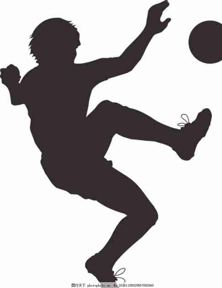 动漫人物 cdr 线条图 插画 素描 雕刻 水彩画 打球的剪影 踢球的剪影