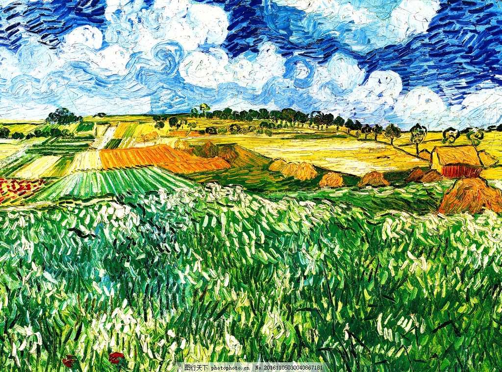 梵高油画 麦田 与油柏 梵高 欧洲 抽象 油画 大师 美术绘画 装饰画