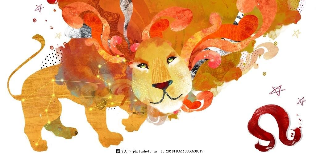 卡通狮子座背景 十二星座系列 手绘漫画 星座素材 卡通背景 星座模板