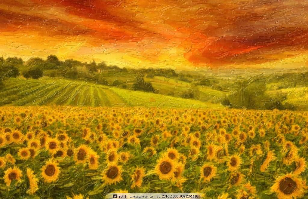 油画向日葵 乡村油画 油画风景 山水画 山水油画 油画山水 风景画