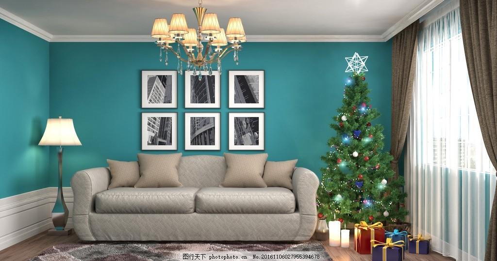 圣诞节客厅 唯美 室内 简洁 简约 欧式 浪漫 圣诞节装饰 温馨客厅