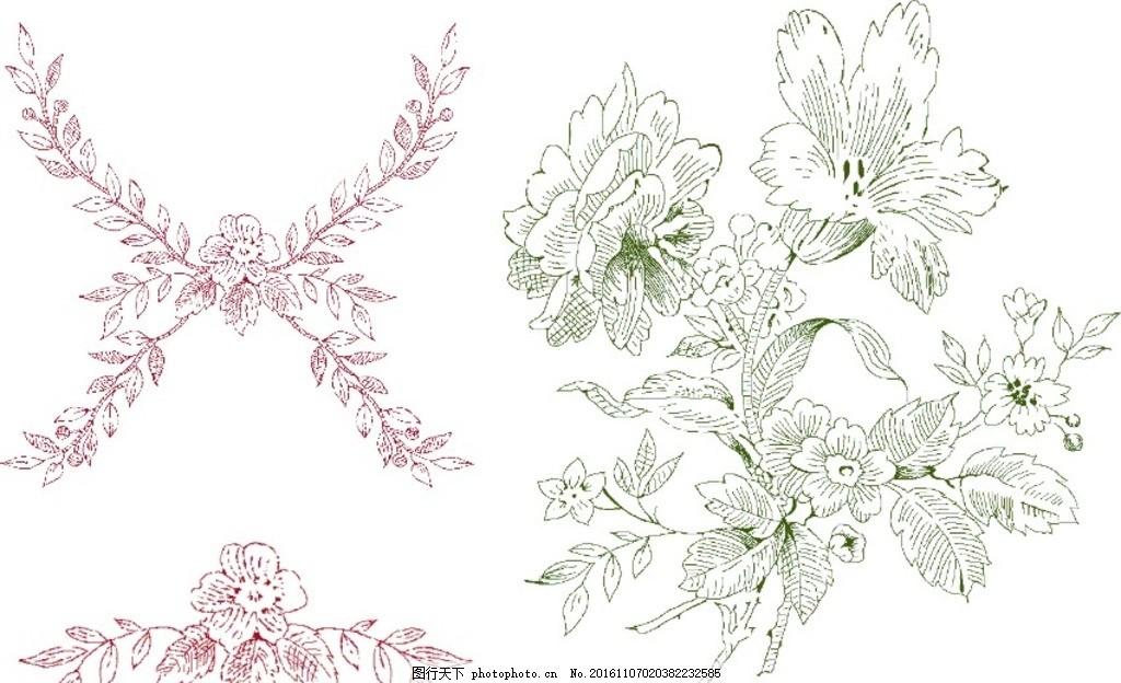 白描花 五瓣花 牡丹 线条 枝叶 设计 底纹边框 花边花纹 cdr