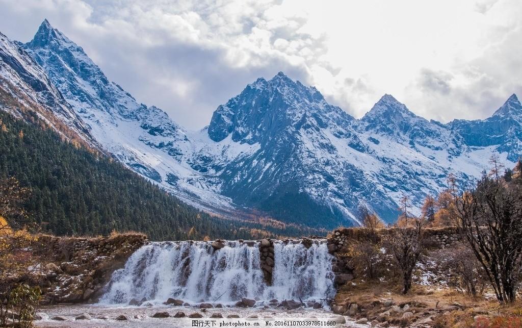毕棚沟 四川 阿坝 理县 原始森林 瀑布 秋色 冰川 溪流 湖水
