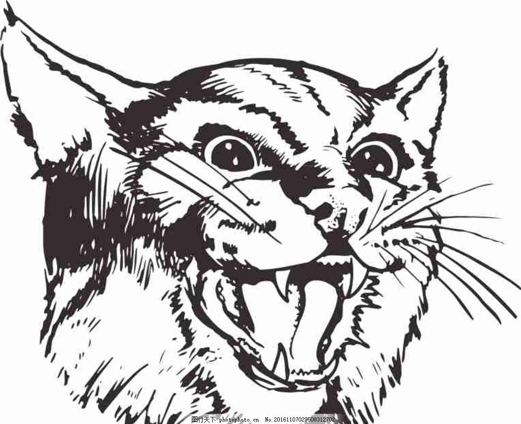 矢量图 卡通 线条图 手绘 素描 雕刻 水彩画 动漫 动物老虎