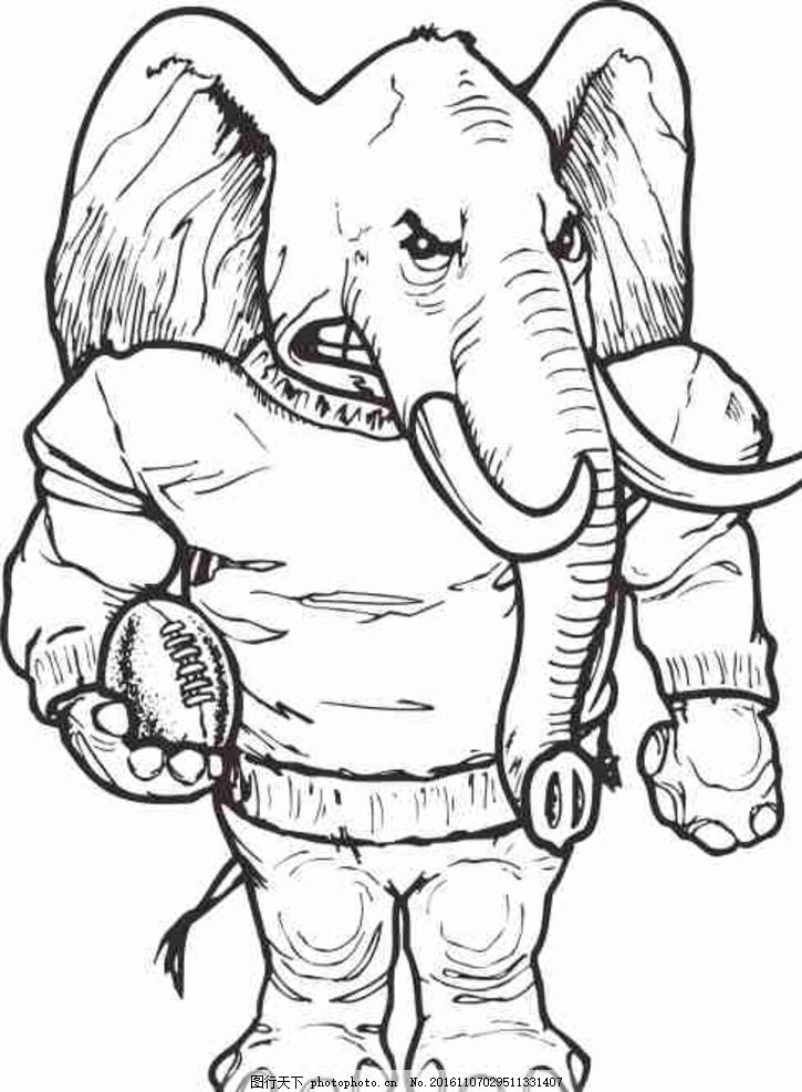 矢量图 卡通 线条图 手绘 素描 雕刻 水彩画 动漫 大象 动物