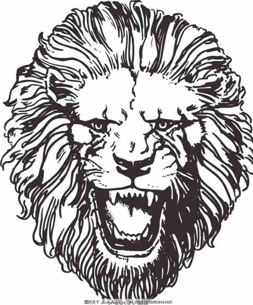 矢量图 卡通 线条图 手绘 素描 雕刻 水彩画 动漫 狮子 动物