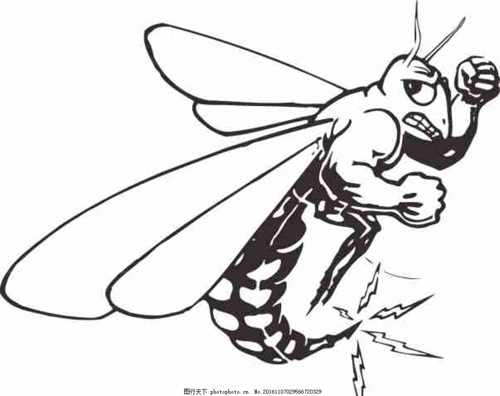 矢量图 卡通 线条图 手绘 素描 雕刻 水彩画 动漫 昆虫