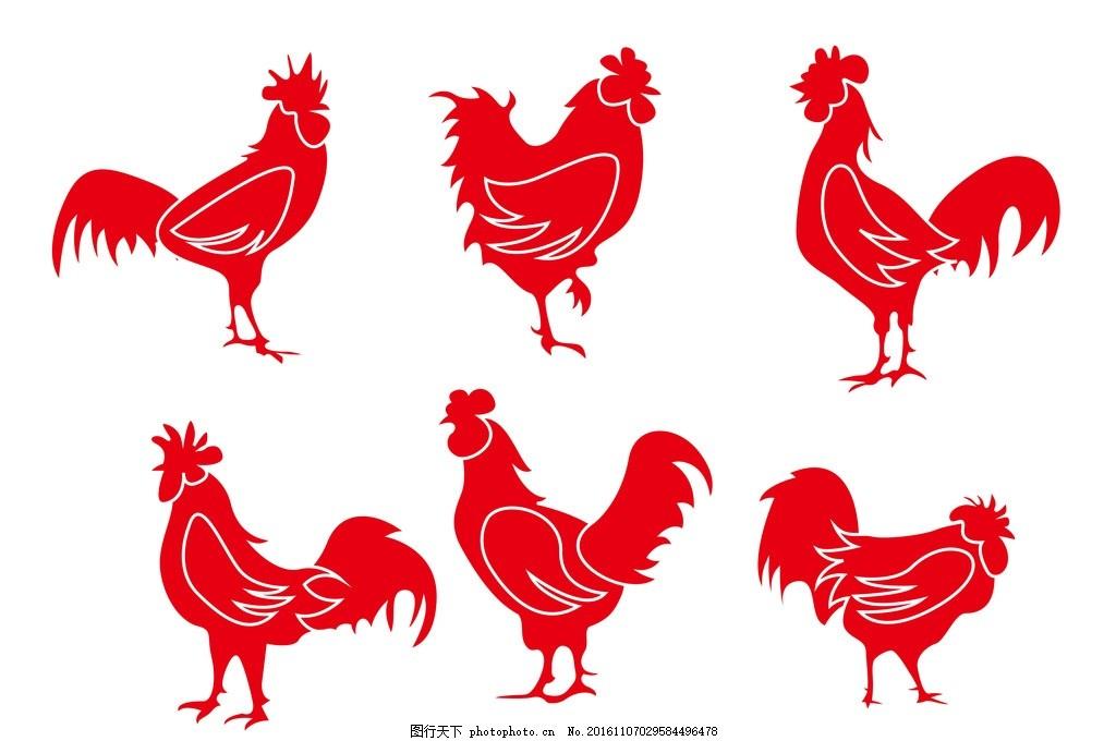 彩绘公鸡 手绘公鸡 撑腰鸡 可爱公鸡 彩色公鸡 功夫鸡 鸡鸣 插画小鸡