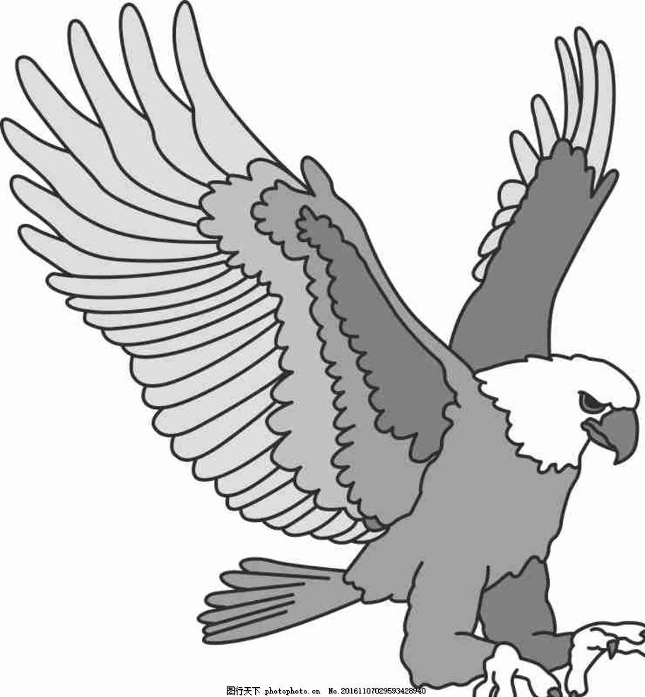 矢量图 卡通 线条图 手绘 素描 雕刻 水彩画 动漫 乌鸦 老鹰