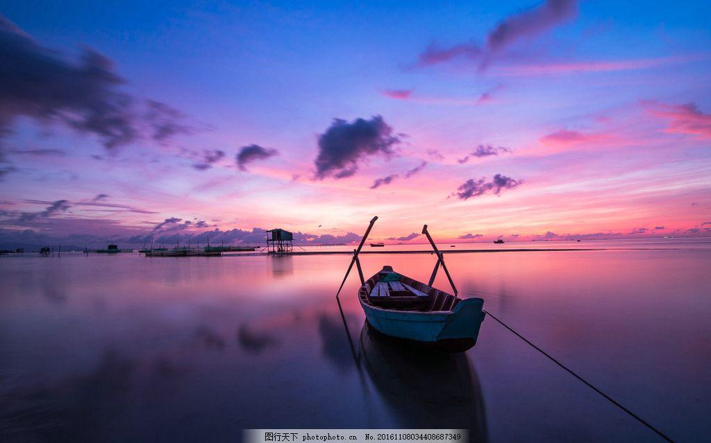 夕阳下海边木桥美景摄影图片图片