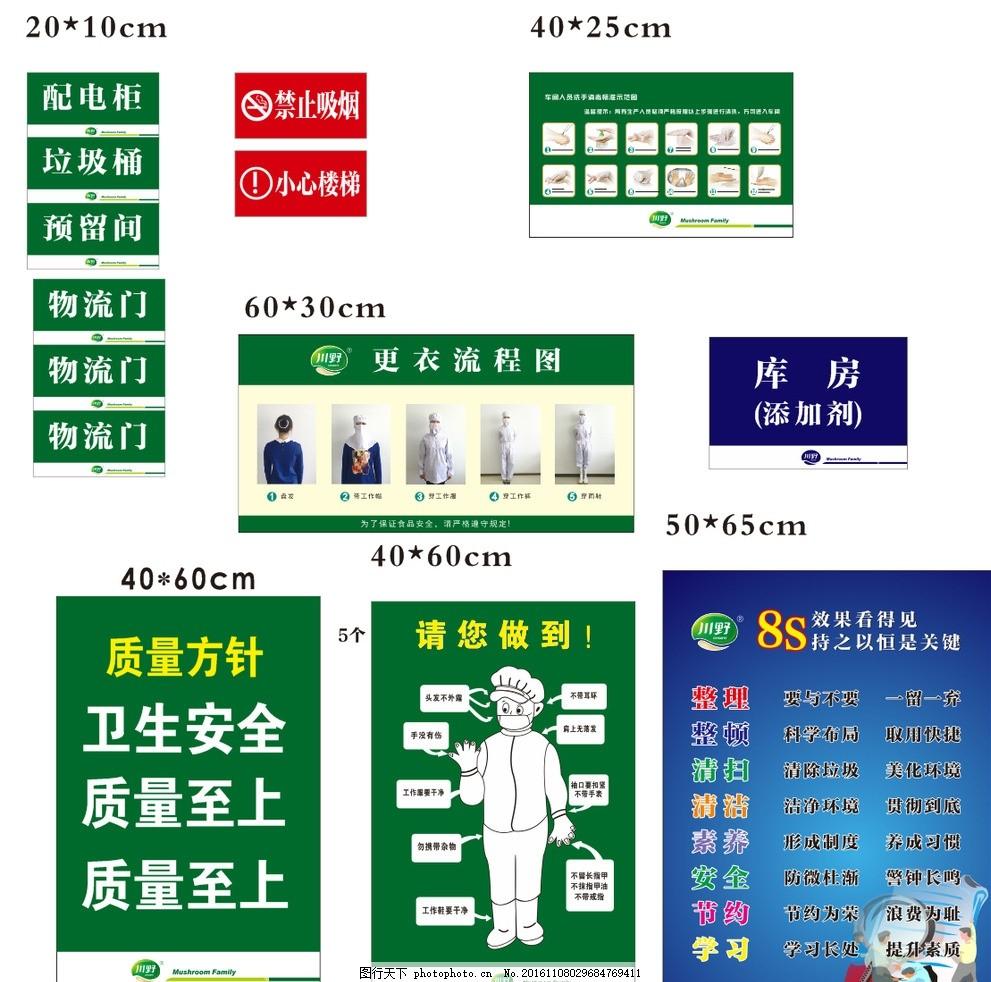 车间管理标识 车间管理 标识 质量方针 穿衣标准 8s 禁止吸烟 洗手