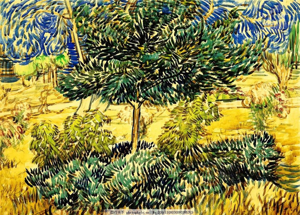 梵高油画 麦田 与油柏 欧洲 抽象 大师 美术绘画 装饰画 酒店装饰画