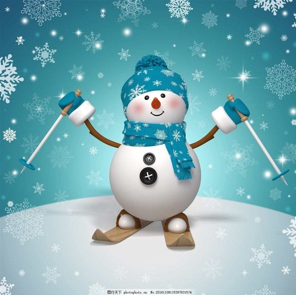 滑雪雪人 滑雪 双板 雪人 蓝色 可爱 设计 动漫动画 动漫人物 96dpi