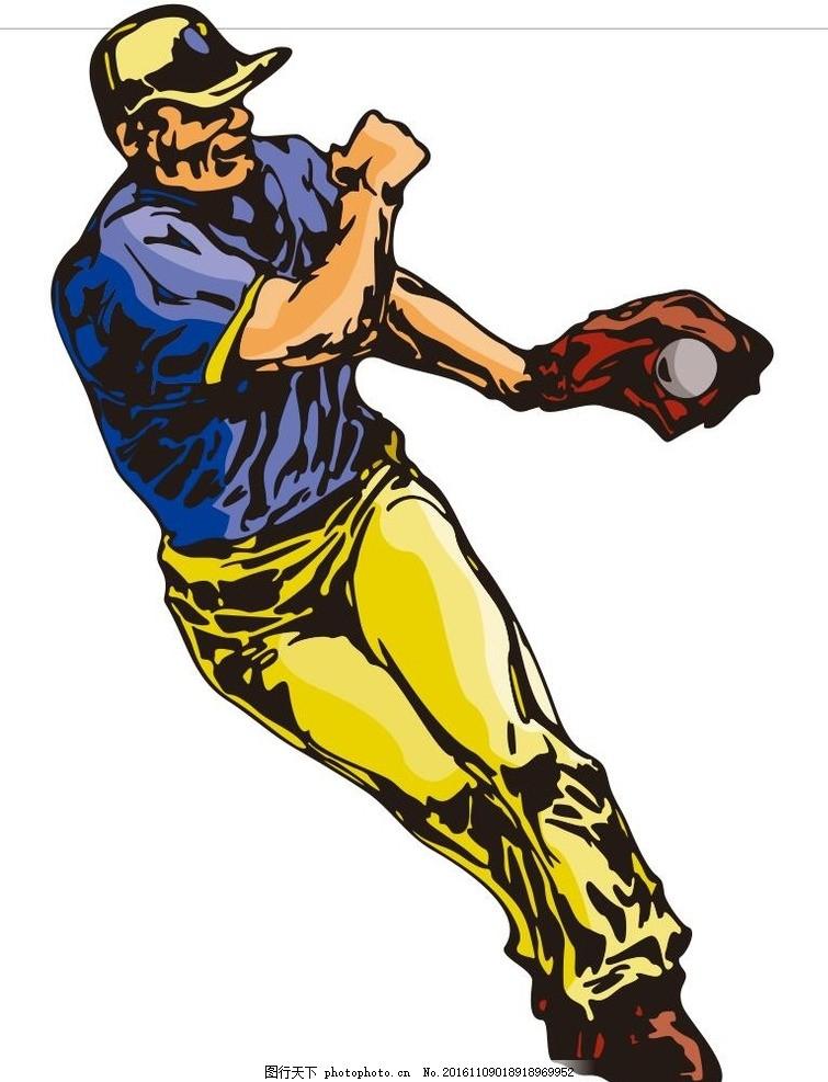 球赛 棒球比赛 运动员 简笔画 线条 线描 简画 黑白画 卡通 手绘 简单