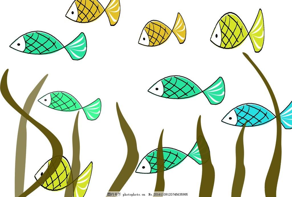 创意图案 卡通背景 抽象动物 小鱼 水草 卡通动物 趣味背景 可爱动物
