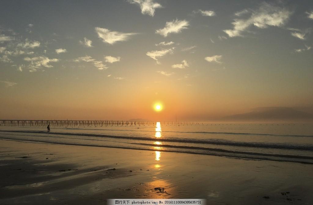 海边落日 夕阳 黄昏 海滩 摄影 自然景观 自然风景