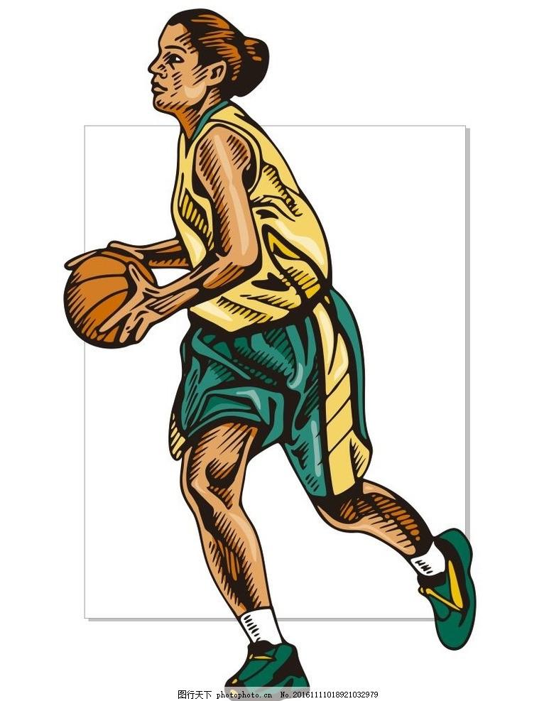 球赛 篮球比赛 运动员 简笔画 线条 线描 简画 黑白画 卡通 手绘 简单