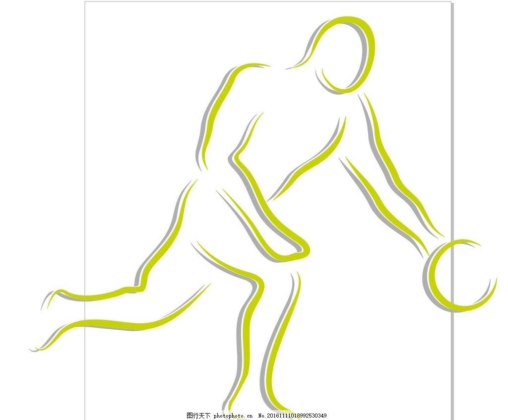篮球线描,篮球抽象画 篮球运动员 球赛 篮球比赛 简笔