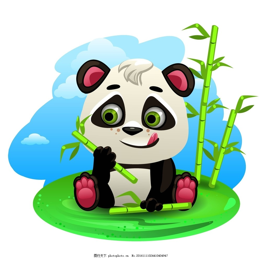 熊猫 吃竹子的熊猫 玩竹子的熊猫 卡通熊猫 可爱熊猫 设计小元素 设计