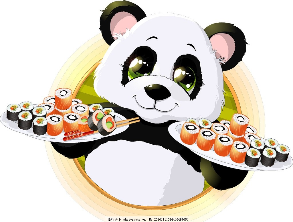 寿司 卡通熊猫 可爱熊猫 设计小元素 设计 生物世界 野生动物 eps