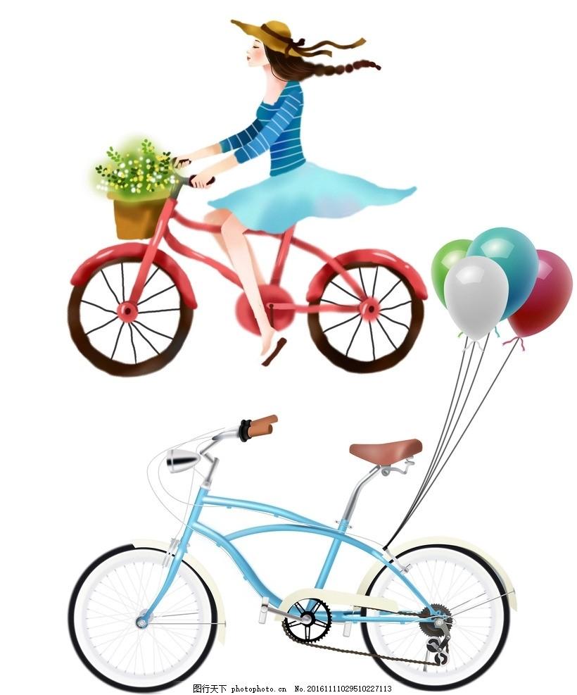 手绘自行车 骑自行车 卡通女孩 女孩自行车 自行车素材 一束气球 气球