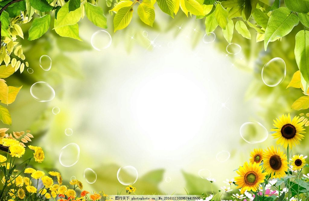 春天素材 春季素材 清新绿色相框 清新边框 绿色 清新 树叶 向日葵 鲜