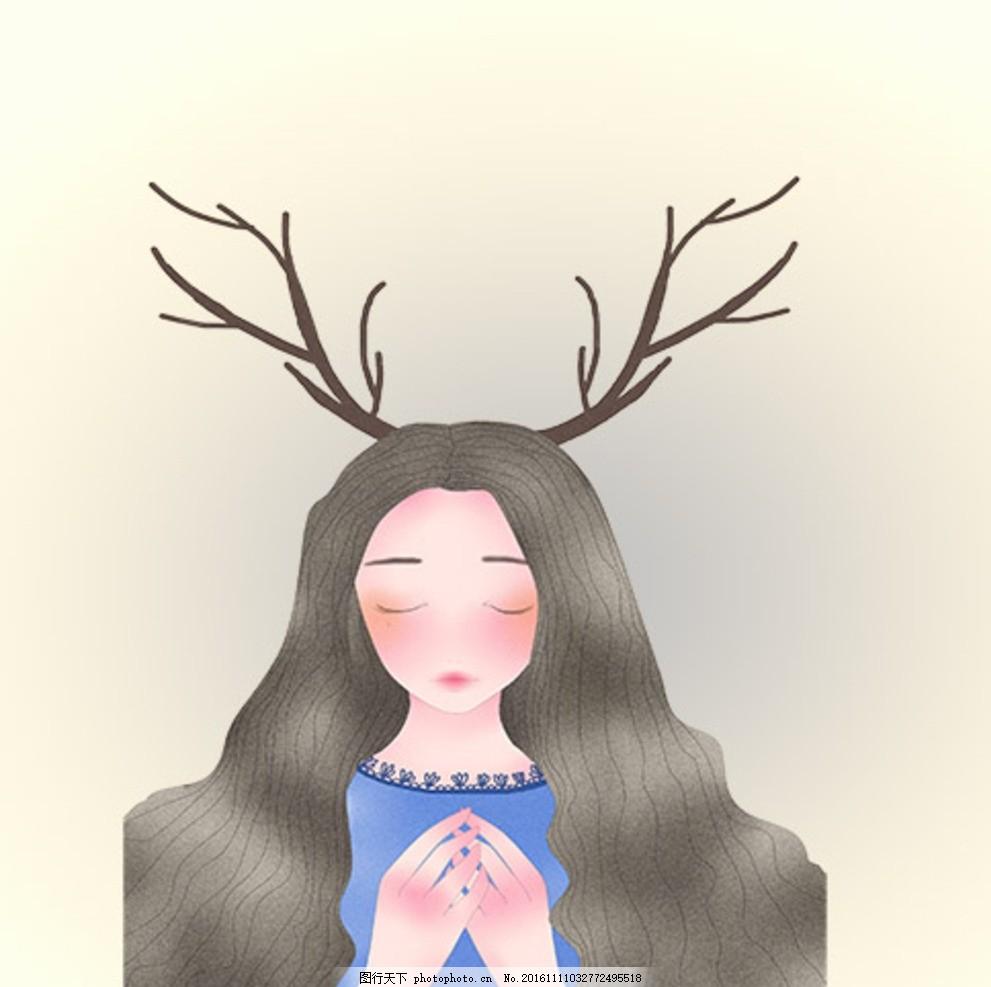 鹿角少女 卡通 动漫 可爱 手绘 插画 圣诞
