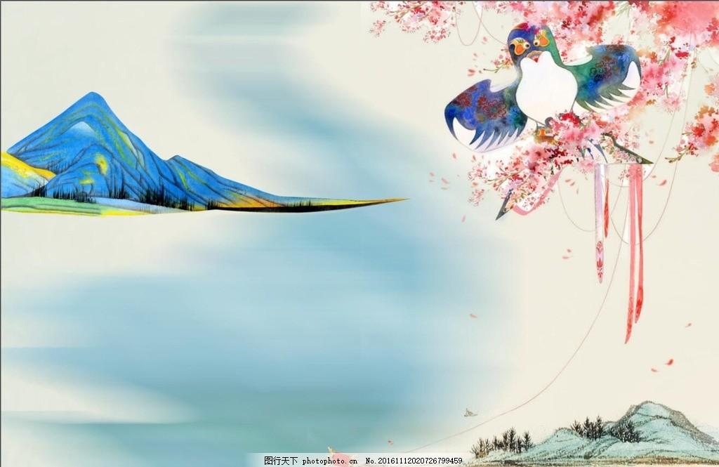 手绘壁画 古典壁画 中国风背景 樱花 风筝 山水壁画 壁画 设计 底纹