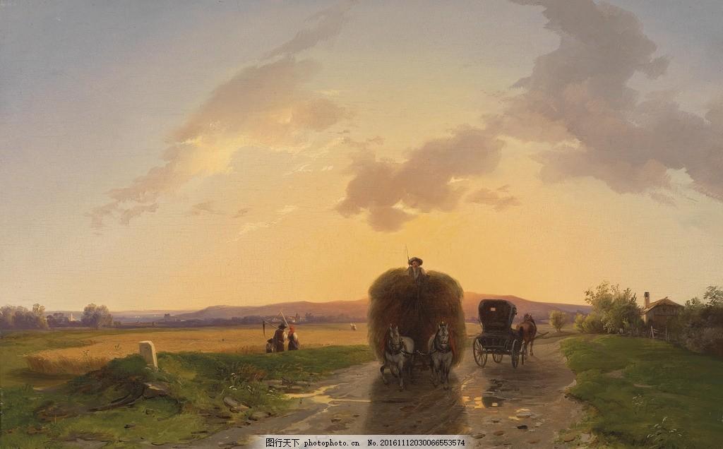 油画风景 田园风景 田园油画 风景油画 欧美风景 美式背景 欧式建筑