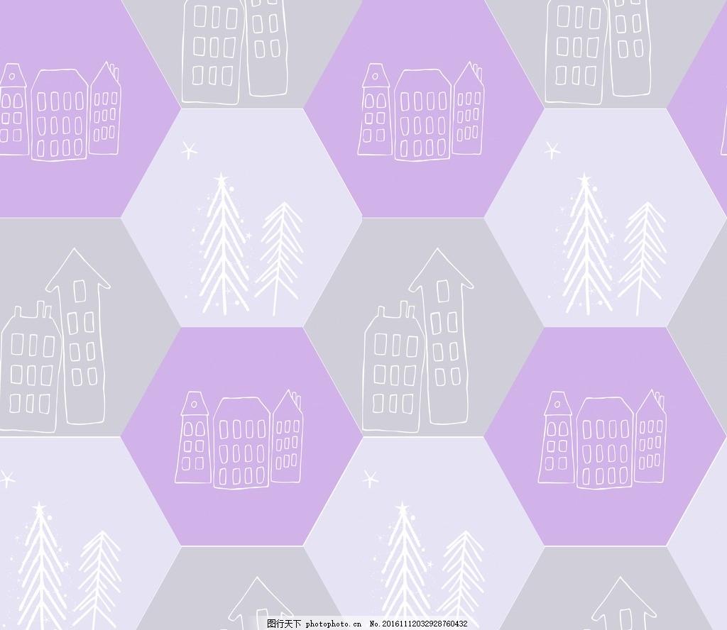 几何图 线条 房屋 紫色 小清新