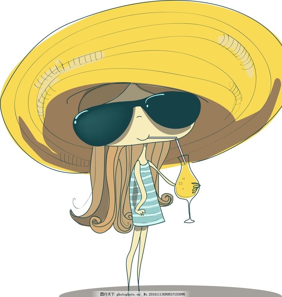 手绘少女 戴草帽 喝鸡尾酒 小女孩 女人 时尚美女 女性素描 卡通女生