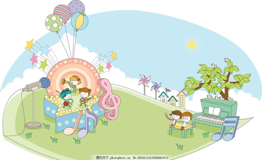 卡通游乐园人物场景素材 卡通背景 梦幻背景 儿童卡通 动物 运动 可爱
