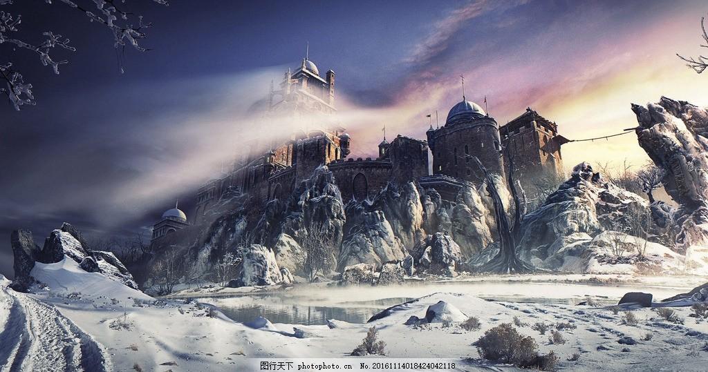 冬天的城堡 雪景 寒冷 自然景观 自然风光 冰湖 科技动漫 动漫动画