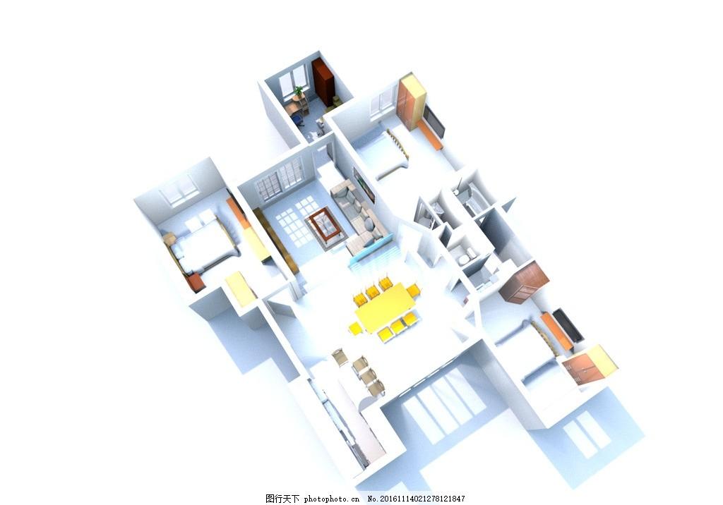房屋效果图        俯视图 室内 sweethome 渲染图 设计 3d设计 室内