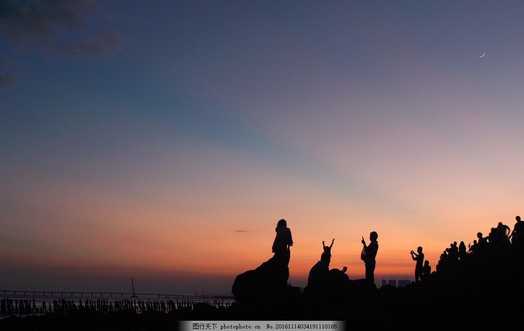 深圳湾 夜景 灯光 海边 月亮 旅游 骑行 跑步 散步 夕阳 背影 丁达尔